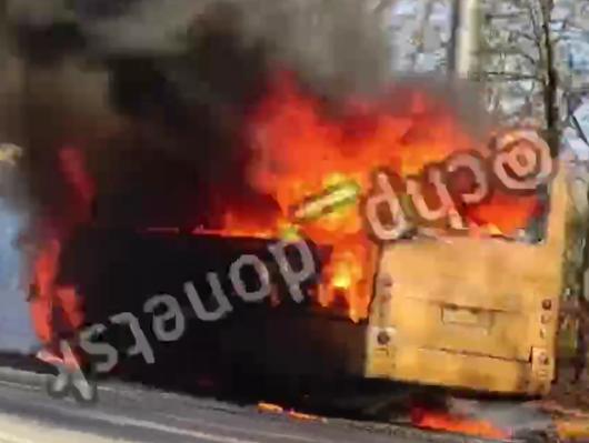 Во время движения загорелась и сгорела дотла маршрутка «Донецк-Макеевка», - ФОТО  , фото-1