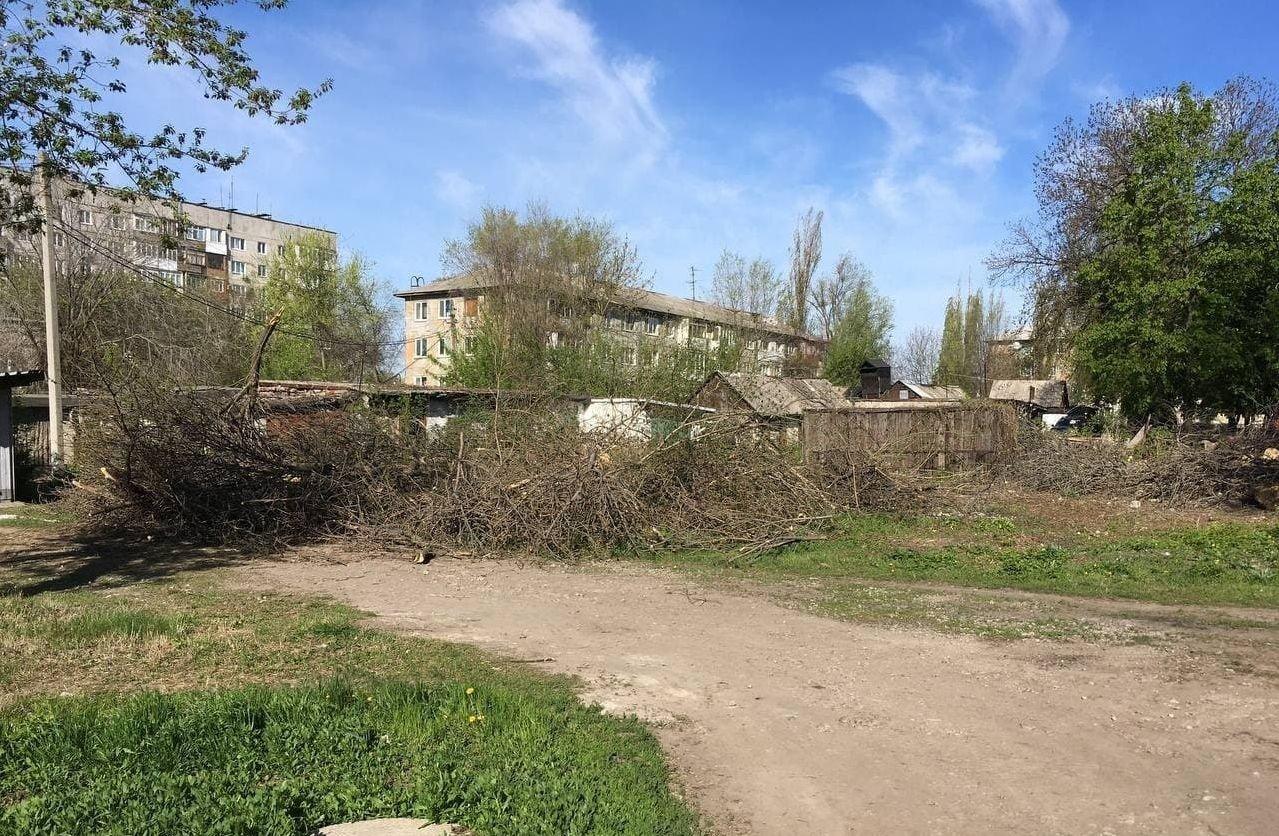 В оккупированной Макеевке единственный проезд во дворы завалили спиленными деревьями, - Фото, фото-5