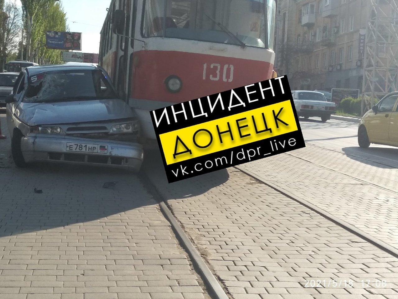 В Донецке столкнулись трамвай и легковушка, - ФОТО, фото-1